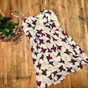 Bird print bustier lightweight sundress